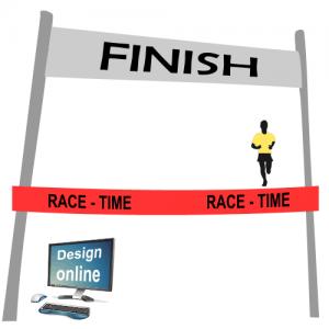 Design auf Ihrem Computer-Bildschirm, Ziellinie Band mit Text und Logo
