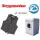 Namensschild und eine Waschmaschine aufbügeln