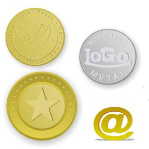Brass Tokens und Münzen geprägt mit Logo und Text