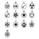 Verschiedene Designs von Gummistempeln auf Lager
