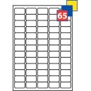 Gedruckte Aufkleber auf A4-Blatt, insgesamt 65 Aufkleber