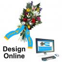 Entwerfen Sie Online-Bouquet-Bänder mit Text und Logo