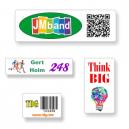 Maßgefertigte Aufkleber im A4-Format mit Text und Logo