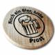Holzmarken mit Logo und Text gedruckt
